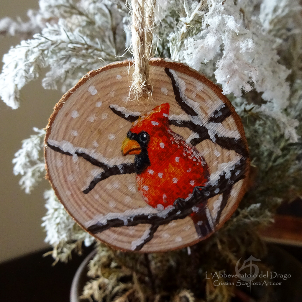 wooden decoration red cardinal