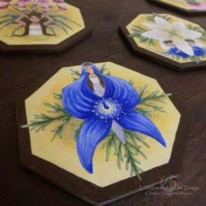 Set 6 Coasters+ 2 Bottle Coasters/Fairies&Flowers/ 2 sides painting