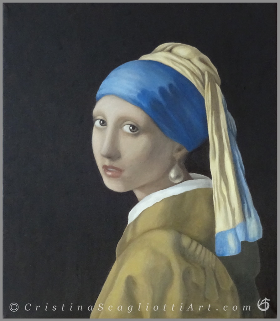 """""""Girl with a Pearl Earring"""" Vermeer – Copy commissioned, oil on canvas, 44 x 39 cm / 17.32 x 15.35 in."""